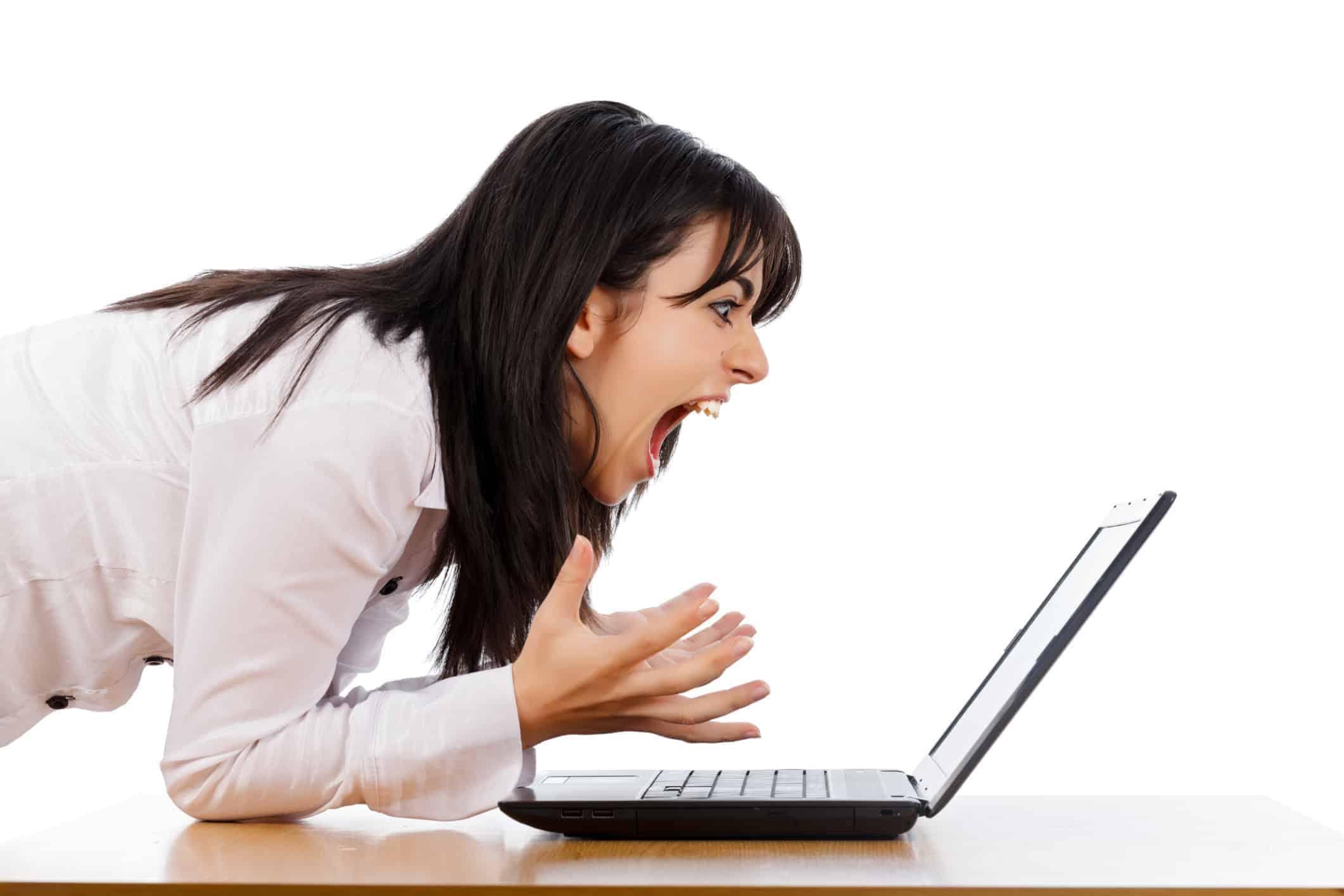 Woman screaming at slow computer